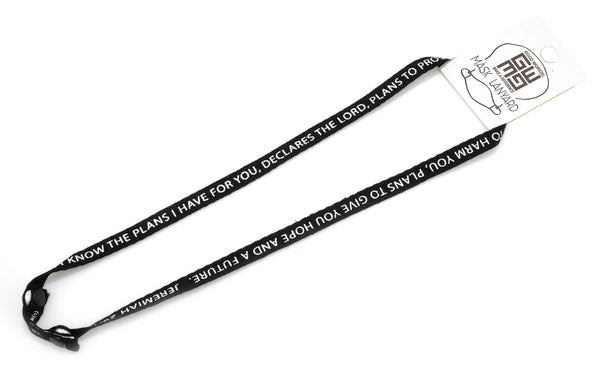 FACE MASK LANYARD - BLACK - JEREMIAH 29:11