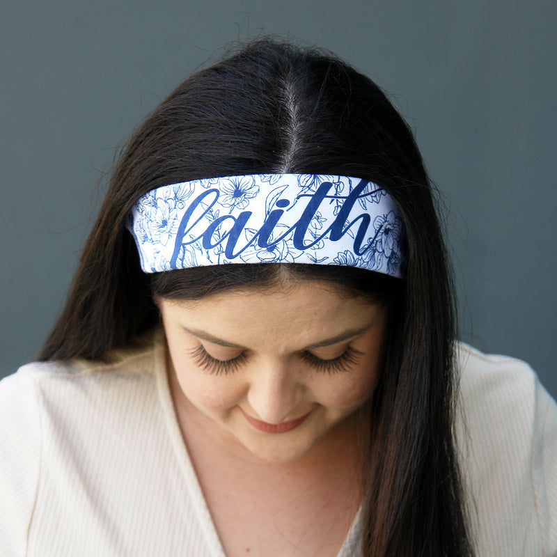 100% COTTON MADE IN THE USA FAITH - WHITE TRI-BANDANA FACE MASK