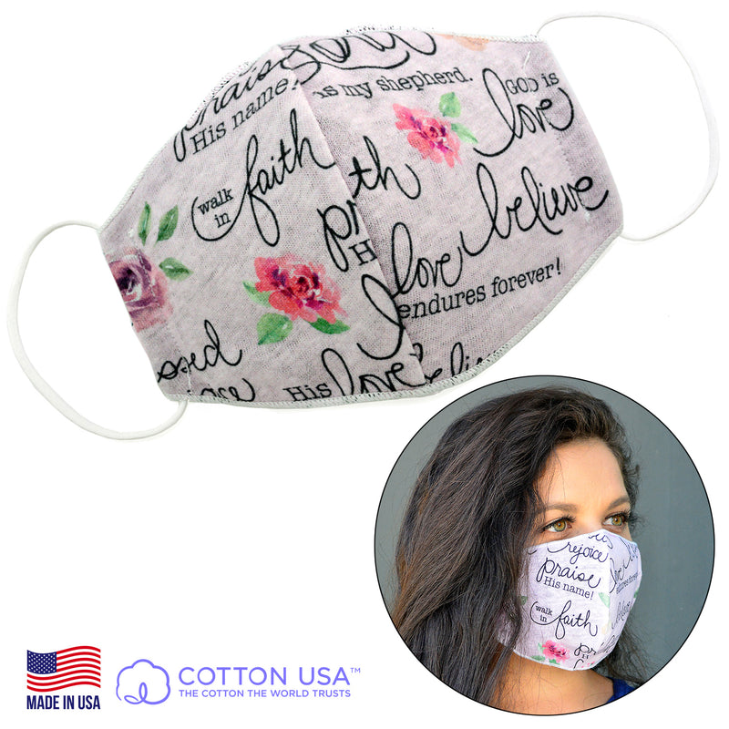 100% COTTON MADE IN THE USA INSPIRATION PINK 3D FABRIC FACE MASK