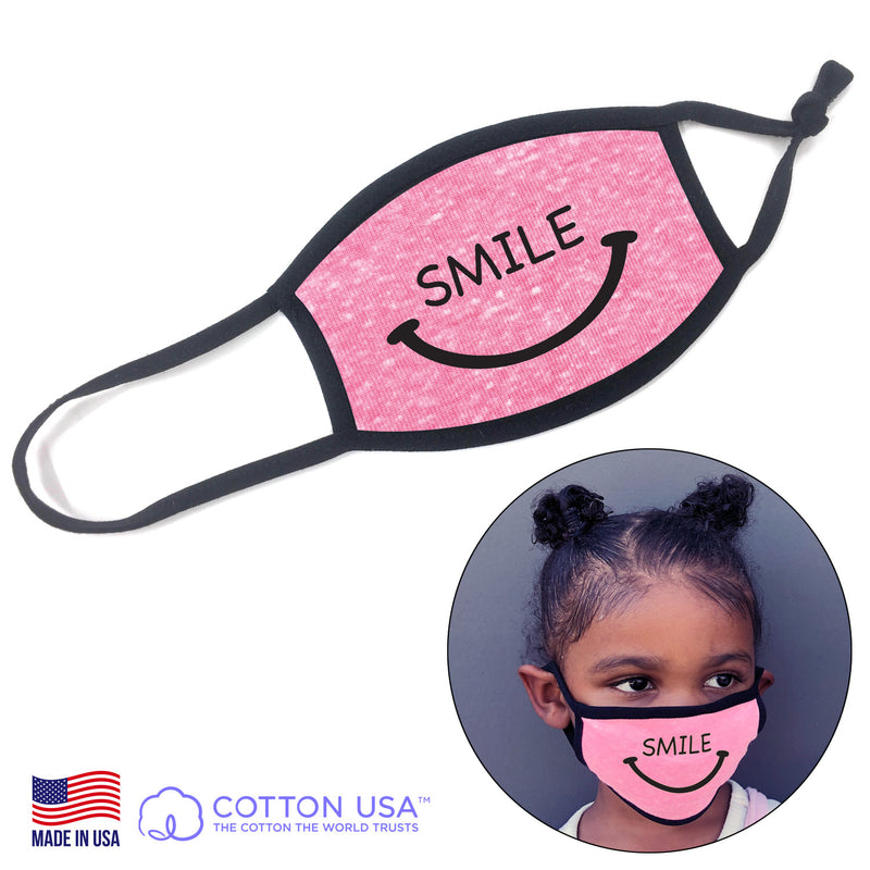 100% COTTON MADE IN THE USA SMILE PINK KIDS FABRIC FACE MASK