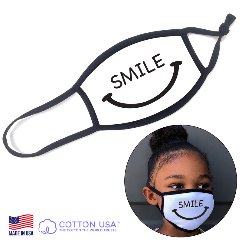 Kids SMILE WHITE Fabric Face Mask