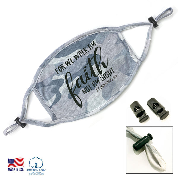 100% COTTON MADE IN THE USA CAMO 2 - 2 COR 5:7 FACE MASK
