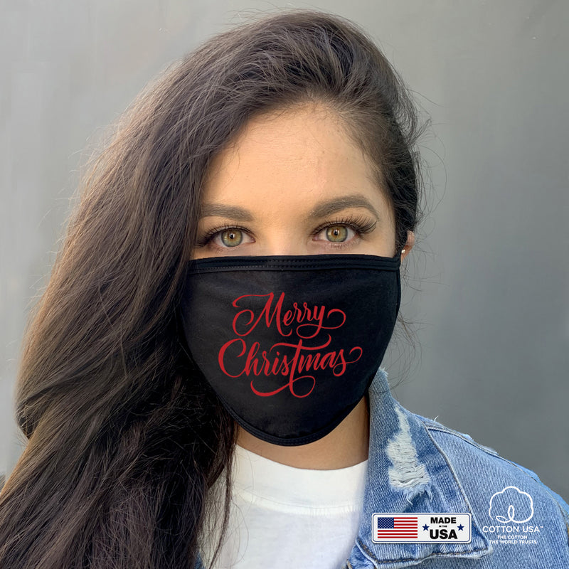 100% COTTON MADE IN THE USA HOLIDAY FACE MASK - MERRY CHRISTMAS