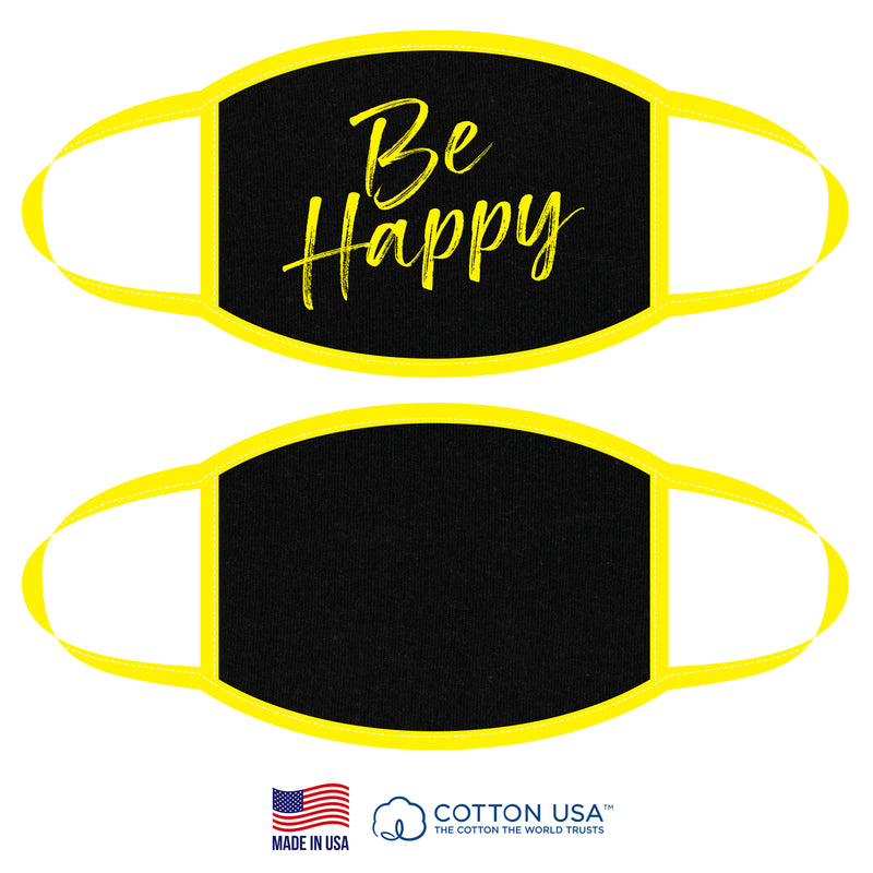 100% COTTON MADE IN THE USA BE HAPPY NEON YELLOW FABRIC FACE MASK