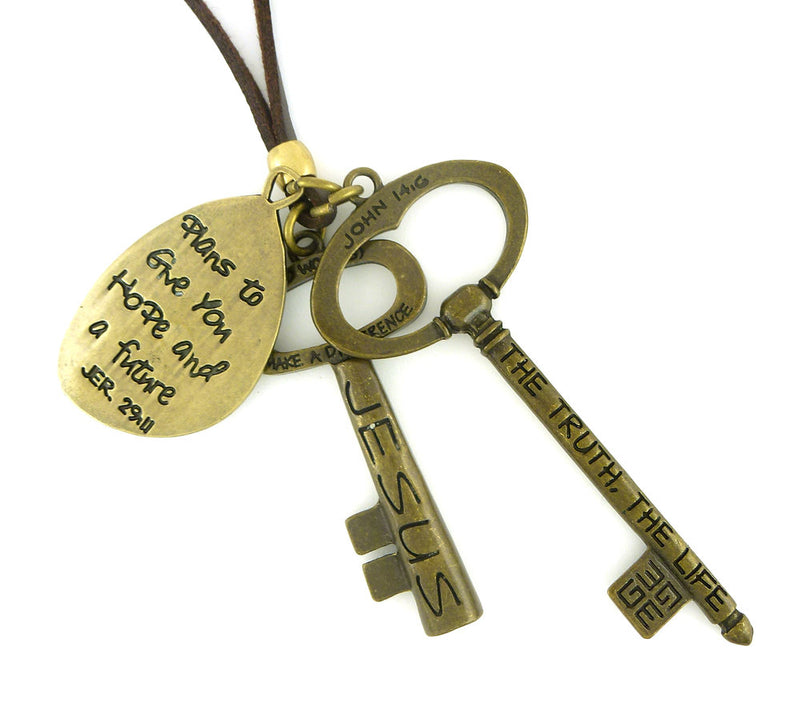 Jesus Truth Key Scripture Necklace