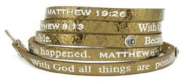 Bible Verse Wrap Around With Stones – Matthew 8:13/19:26 – Metallic Bronze