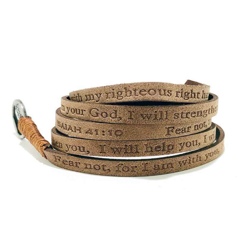 Bible Verse Wrap Around - Isaiah 41:10 - Earth Light Brown