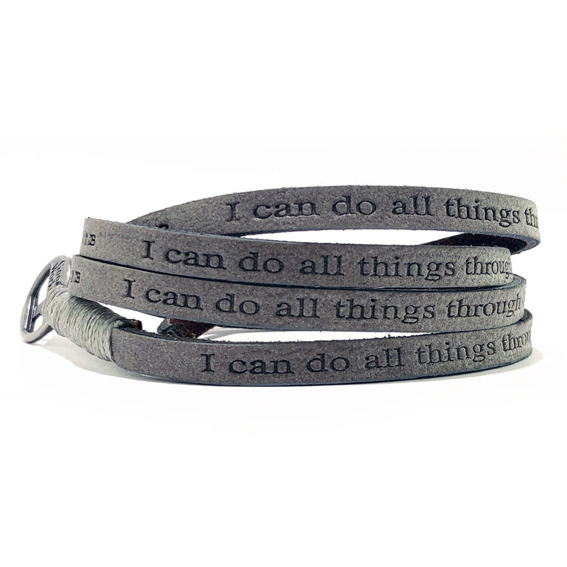Bible Verse Wrap Around - Philippians 4:13 - Earth Gray