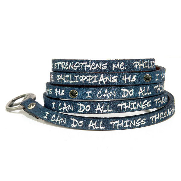 Bible Verse Wrap Around with Stones - Philippians 4:13 - Stardust Navy