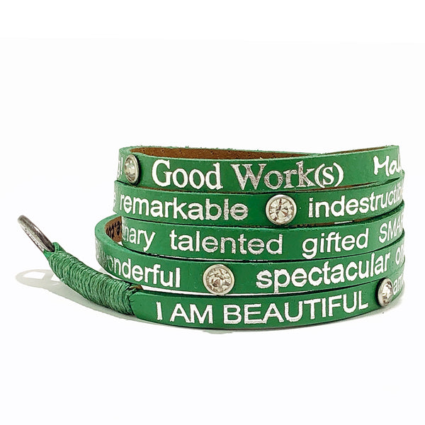 I am Beautiful  Wrap Around with stones - Neon Green