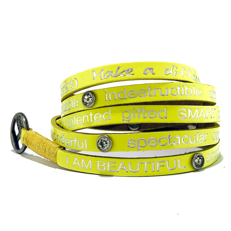 I Am Beautiful Wrap around with Stones – Neon Yellow