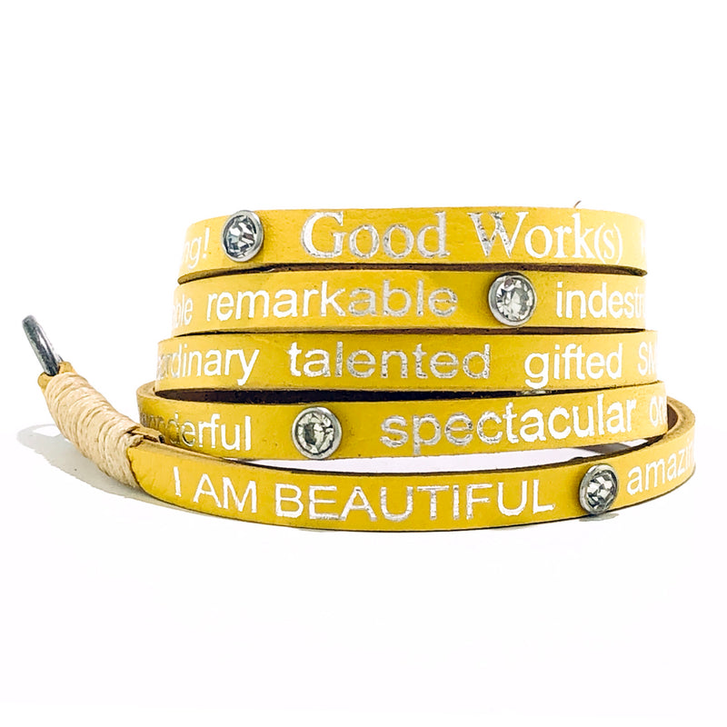 I Am Beautiful Wrap around with Stones – Yellow