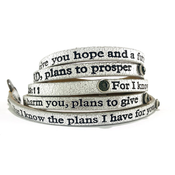 Bible Verse Wrap Around with Stones – Jeremiah 29:11 – Metallic Silver