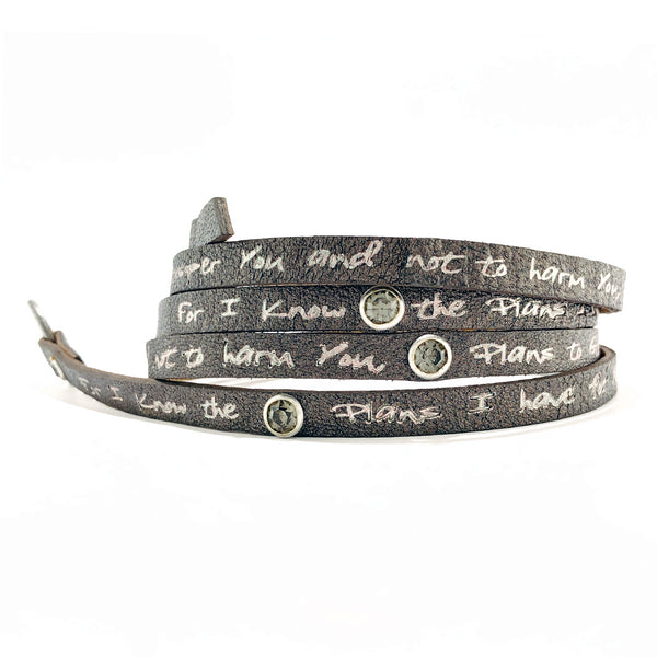 Bible Verse Wrap Around with stones- Jeremiah 29:11 - Pewter