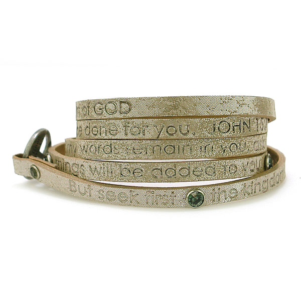 Bible Verse Wrap Around with stones- John 15:7 / Matthew 6:33 - Pearl