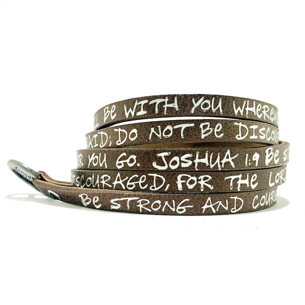 Bible Verse Wrap Around - Joshua 1:9 - Brown