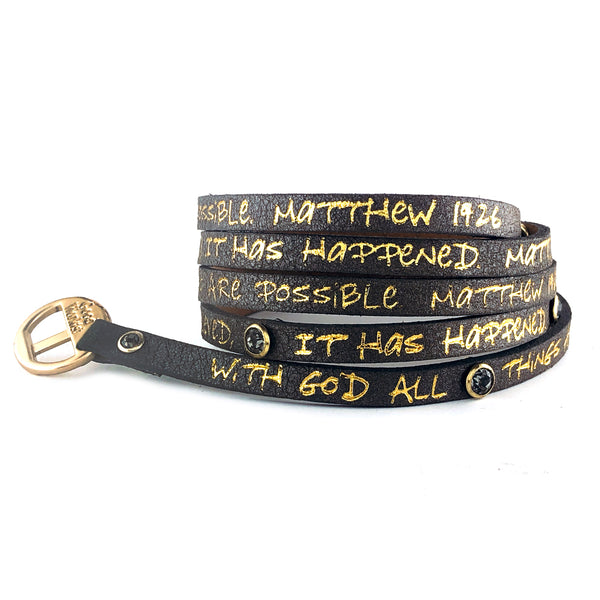 Bible Verse Wrap Around with Stones – Matthew 19:26/Matthew 8:13 – Dark Gray/Gold