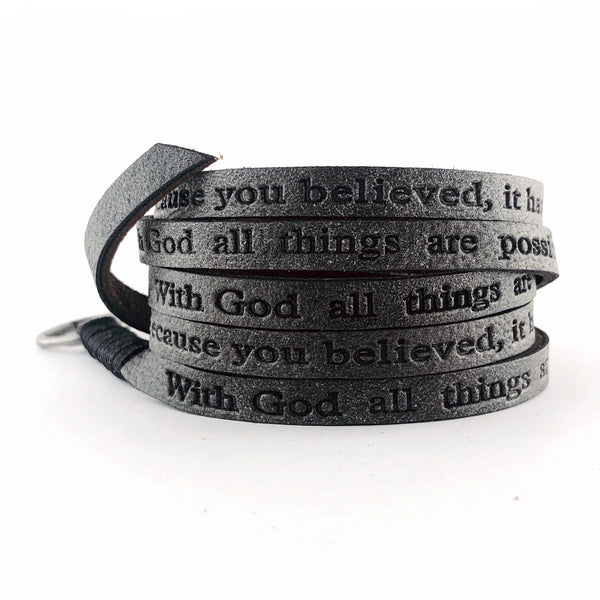 Bible Verse Wrap Around – Matthew 19:26/Matthew 8:13 – Vintage Black