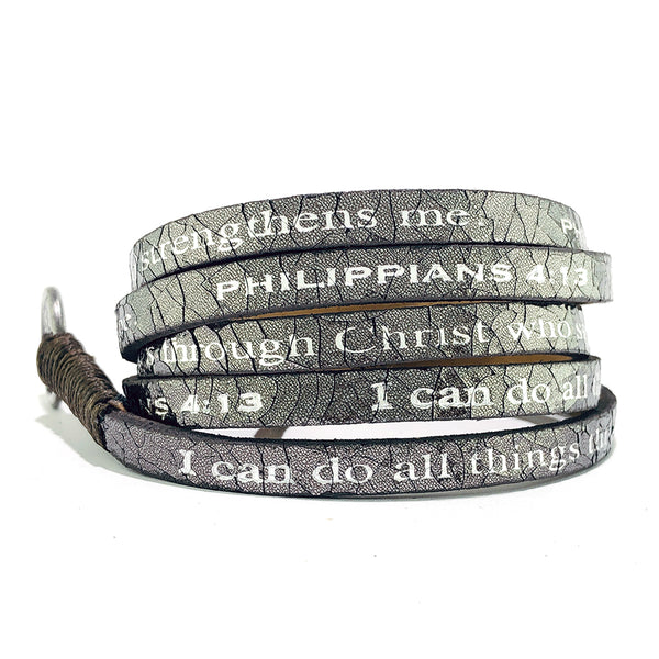 Bible Verse Wrap Around – Philippians 4:13 – Metallic Gunmetal