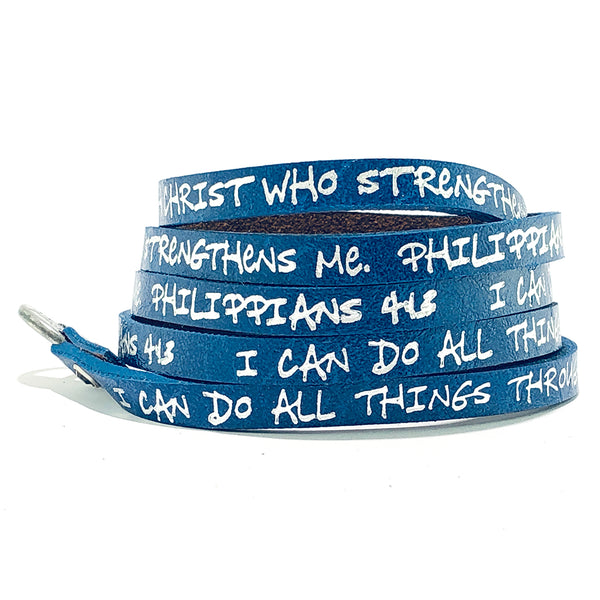Bible Verse Wrap Around – Philippians 4:13 – Royal Blue