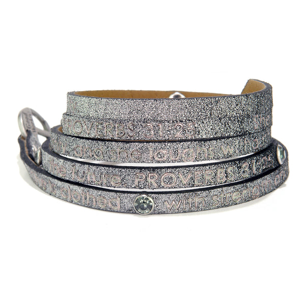 Bible Verse Wrap Around with stone - Proverbs 31:25 - Stardust Gunmetal