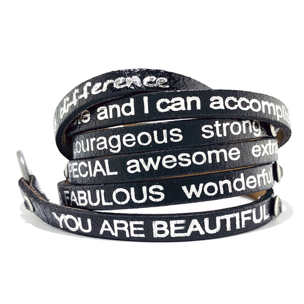 You are beautiful Wrap Around with stones - Black