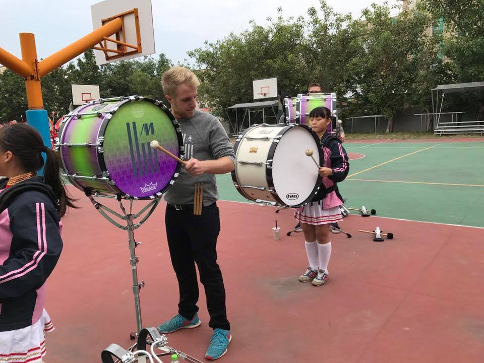 Matrix Percussion clinic in Taiwan wearing Lot Riot. Drumline Bass.