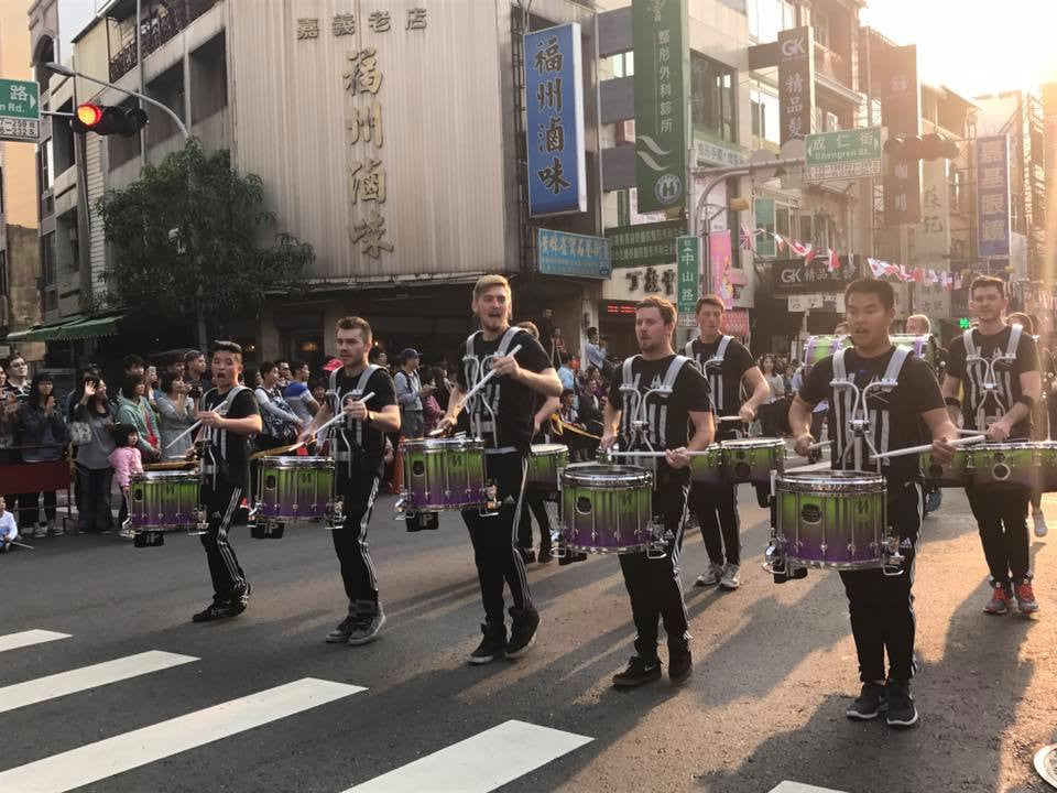 Matrix Percussion from Ohio in Taiwan wearing Lot Riot. Drumline snareline.