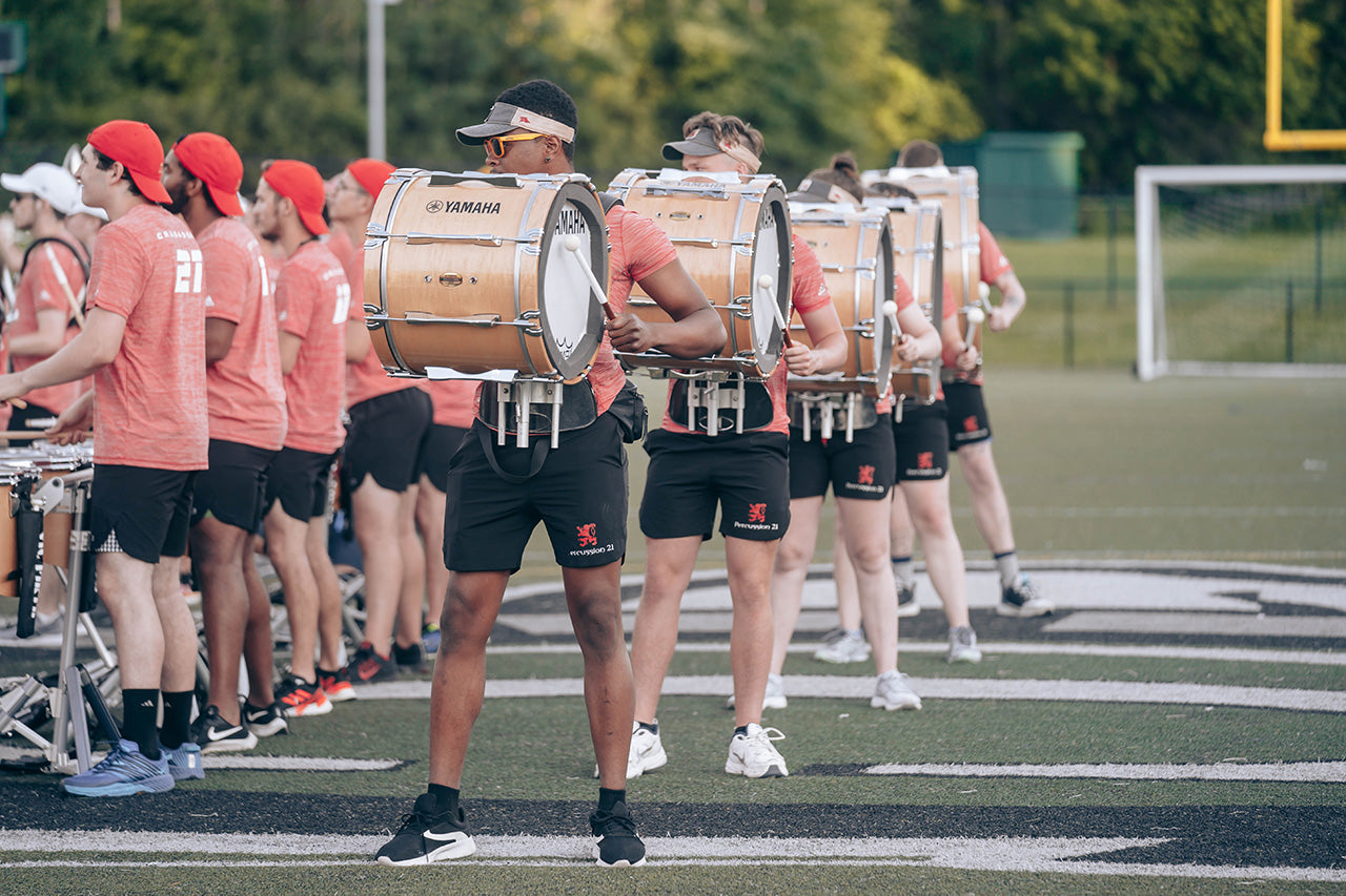 Boston Crusaders drumline bass line in Lot Riot shorts