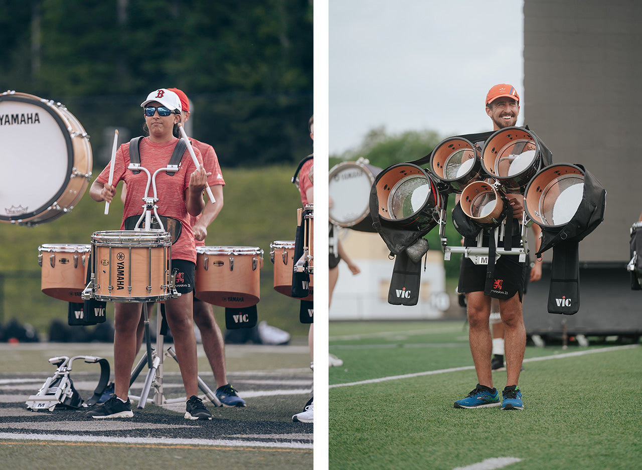 Boston Crusaders snare and tenor line in Lot Riot shorts