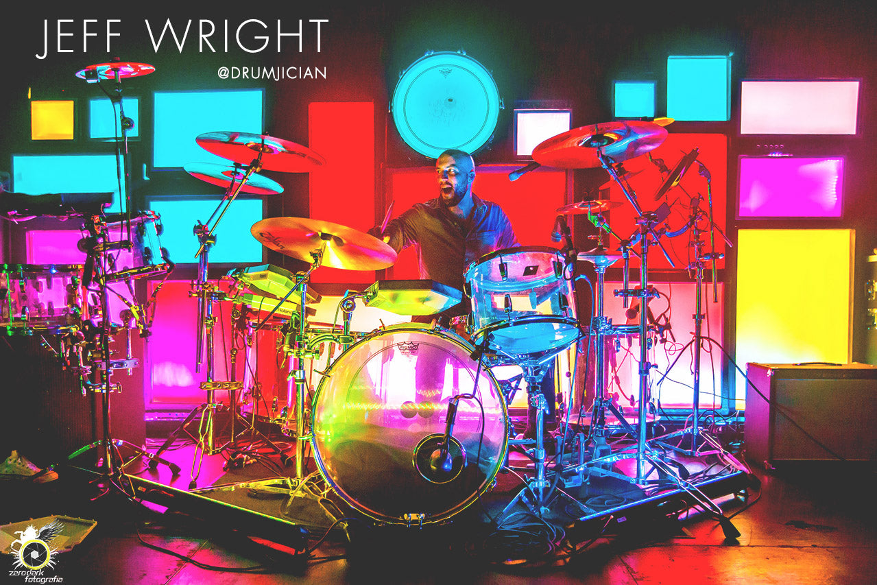 Drumset artist Jeff Wright wears Lot Riot apparel.