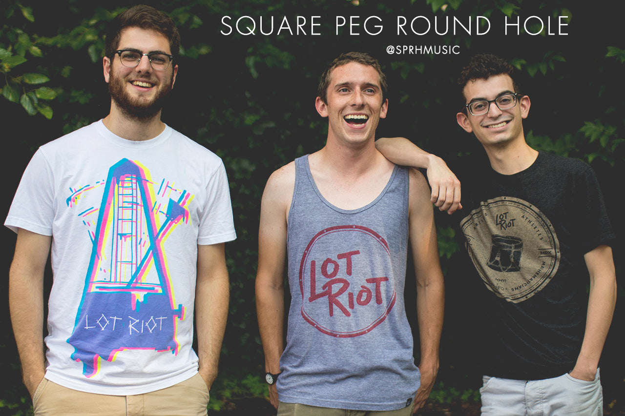 Percussion band Square Peg Round Hole wears Lot Riot apparel