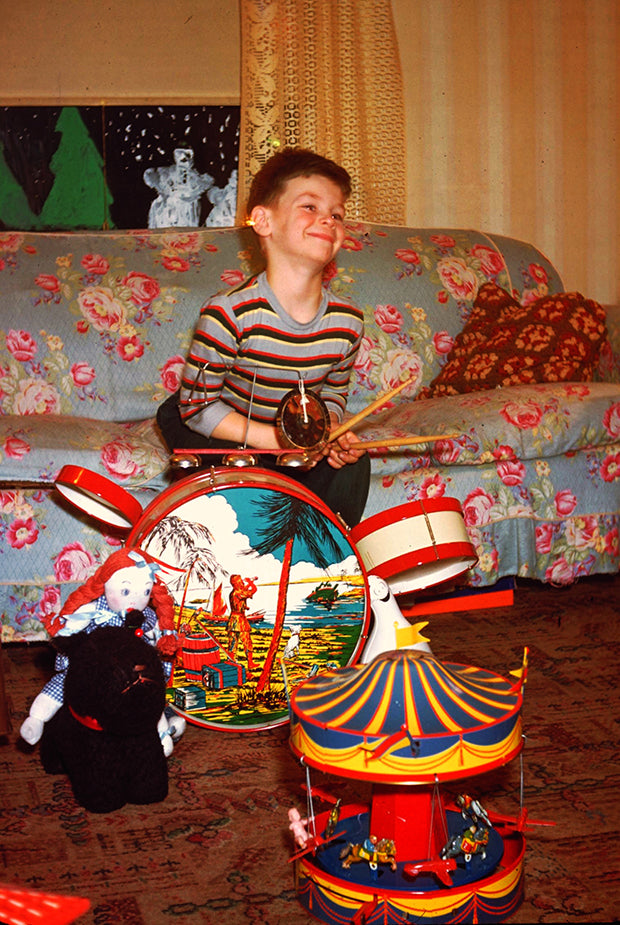 Happiest Kid on Christmas Morning with Drums Vintage