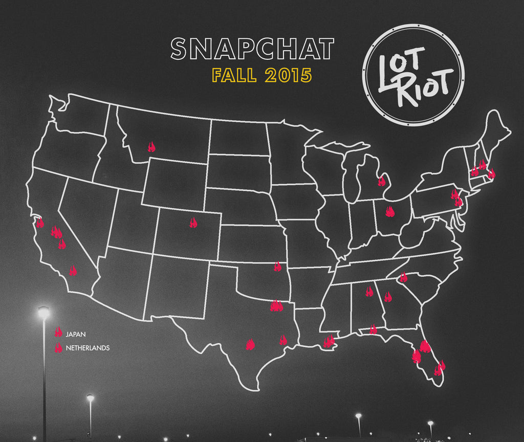 Lot Riot Snapchat Takeovers Map Fall 2015