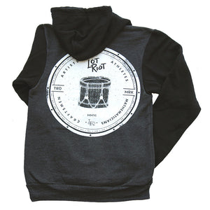 Crest Zip Hoodie - Black/Grey/White