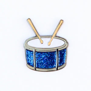 Drum Emoji Lapel Pin - Blue