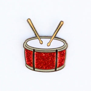 Drum Emoji Lapel Pin - Red