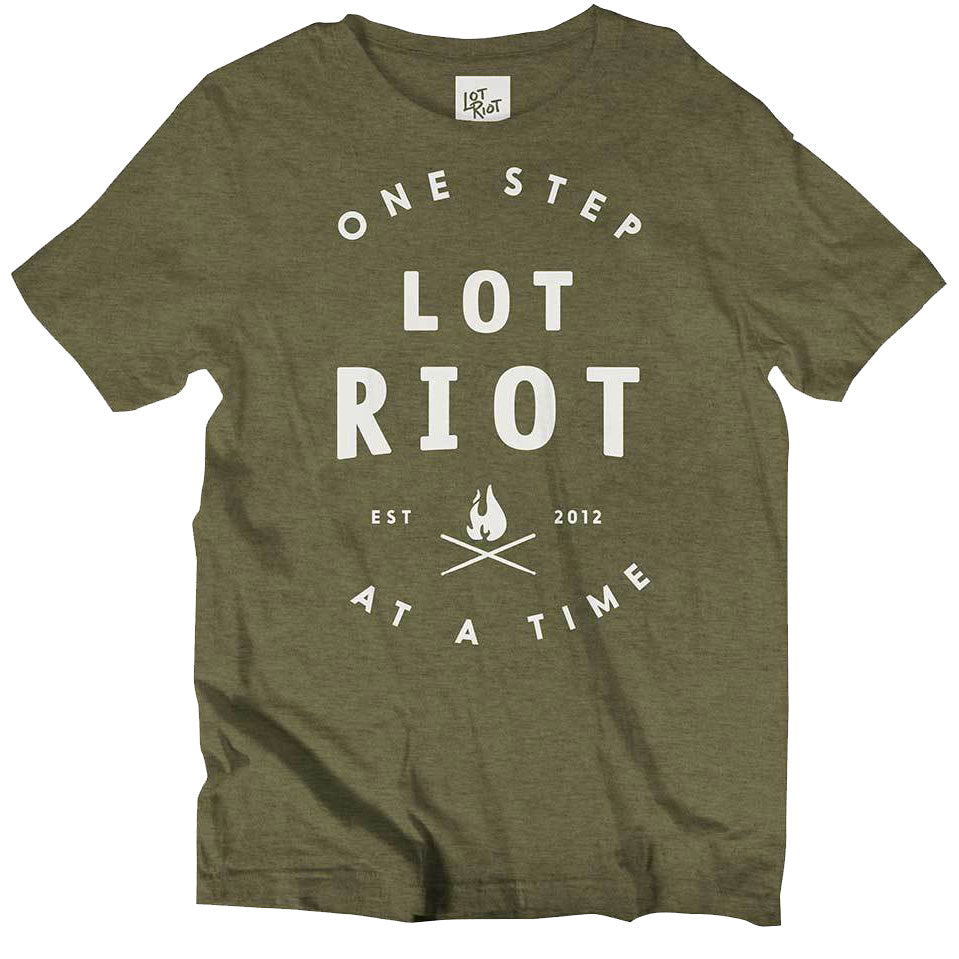 One Step at a Time Tee - Olive/White