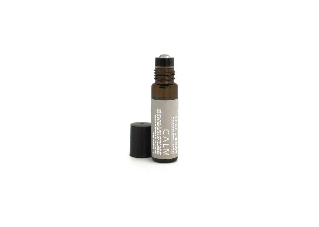CALM AROMATHERAPY ROLL ON An effective combination of organic essential oils chosen for their ability to calm our mind and body.  The essence of lavender and patchouli encourages us to pause with purpose and to linger in this relaxed state.