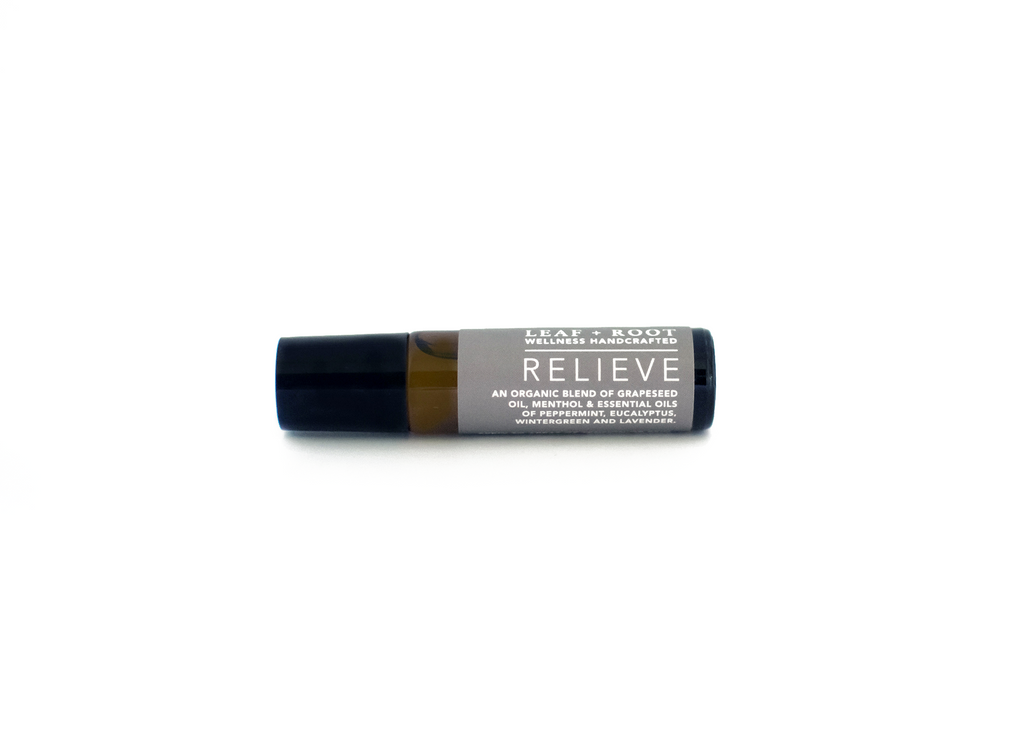 RELIEVE AROMATHERAPY ROLL ON A potent combination of organic essential oils chosen for their ability to relieve daily stresses and pains.
