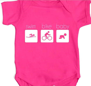 Swim Bike Baby Onesie