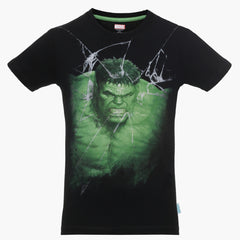 Hulk Coming Through Screen Black T-Shirt for Boys