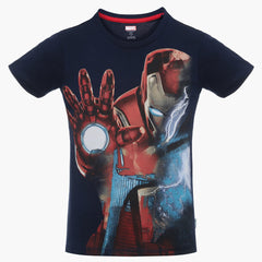 Iron Man in Strom Navy Blue T-Shirt for Boys