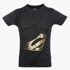 Superman with Gold Logo Dark Grey T-Shirt for Boys