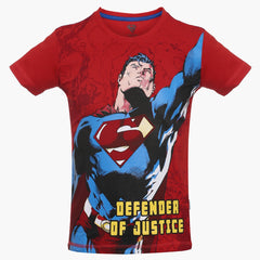 Superman Defender of Justice Red T-Shirt for Boys