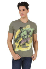 Avengers Comics Hulk in Action Dark Green T-Shirt for Men