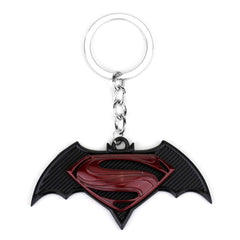 Batman Superbat Logo Black and Red Metal Keychain