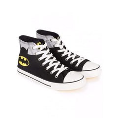 Batman Logo with Suit Shadow Unisex Canvas Shoes - Black and Grey