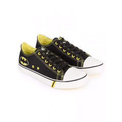 Batman Logo with White Top Unisex Canvas Shoes - Black and Yellow