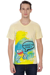 Kritzels WTF Where's The Food? Yellow T-Shirt for Men